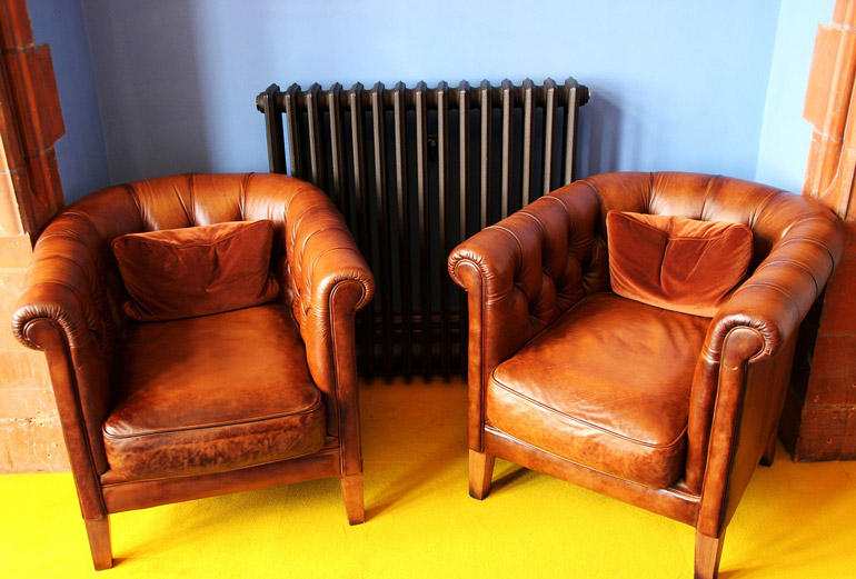 two leather chairs in living room